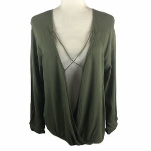 Umgee Olive Crepe Surplice Strappy Top